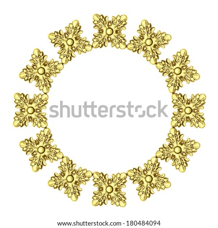 3d frame made of gold on a white background