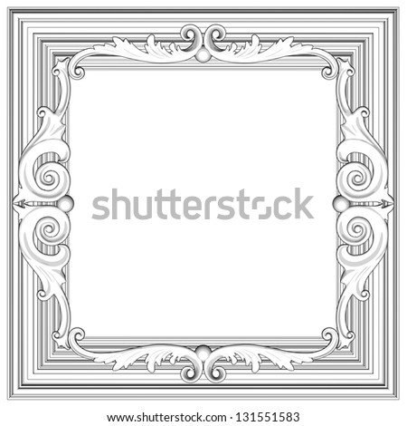 3d frame, the sculptural form on a white background