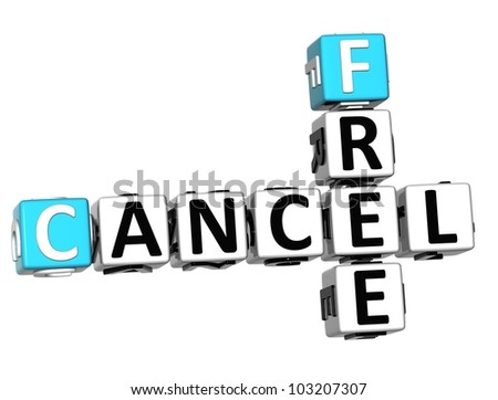 3D Free Cancel Crossword on white background