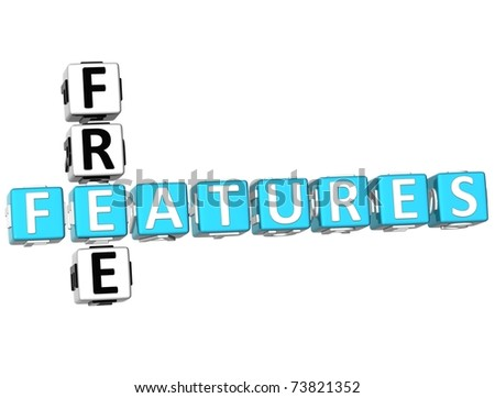 3D Free Freatures Crossword on white background