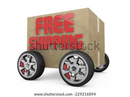 3D free shipping cardboard and wheels. - stock photo