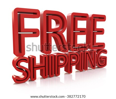 3D Free Shipping text on white background in the design of information related to the delivery - stock photo