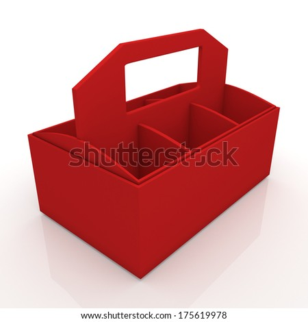3d fresh red beverage bottles box and partition packaging hexagon box and lids for blank template products in isolated background with clipping paths, work paths included  - stock photo