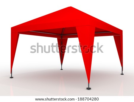 3D fresh red canopy, tent for outdoor activity and canvas, pipe structure in isolated background with work paths, clipping paths included - stock photo