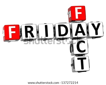 3D Friday Fact Crossword on white background - stock photo