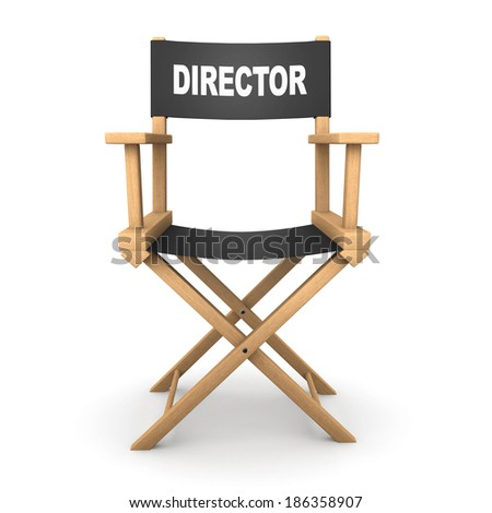 3d front view render of a directors chair