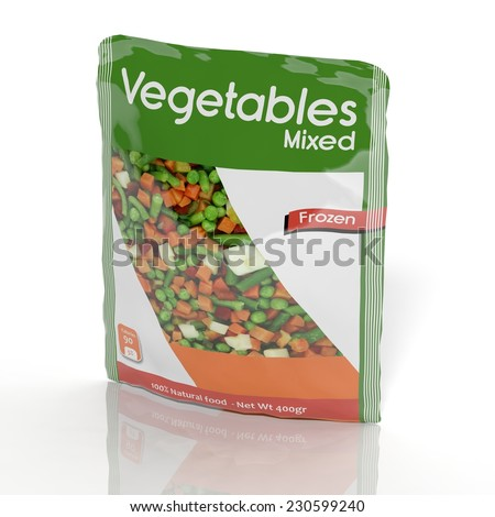 3D Frozen Vegetables packet isolated on white  - stock photo