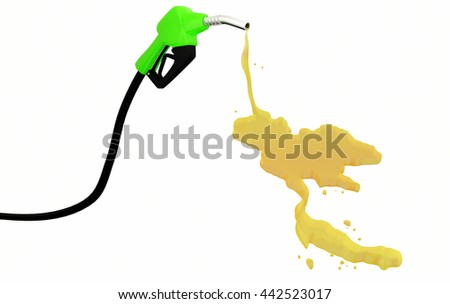 3d Fuel nozzle with Thailand Map drop isolated on white background