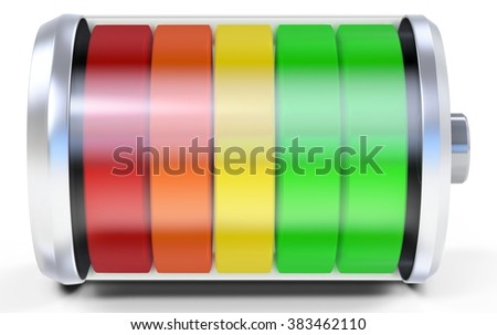 3d full battery symbol isolated on white background - stock photo