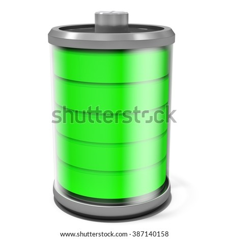 3d full battery symbol isolated on white background - stock photo