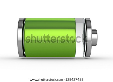 3D Full Battery symbol white isolated