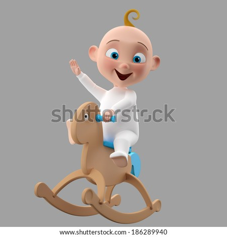 3d funny cartoon character sweet baby icon smiling cartoon child