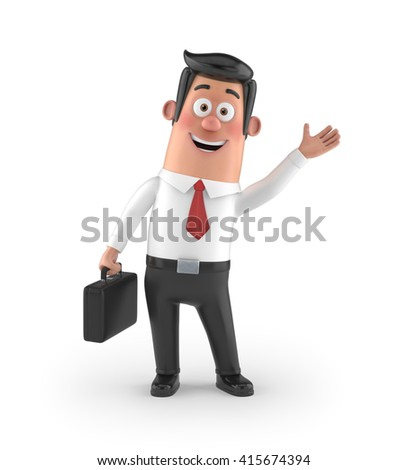 3D funny cartoon manager - stock photo