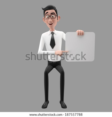 3d funny character, cartoon sympathetic looking business man, dear person in suit with glasses and tie, sitting on the edge of blank paper, isolated