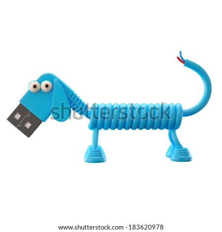 3d funny icon, usb connector dog, technology humorous animal, USB connection character with blue cable, isolated on white background  - stock photo