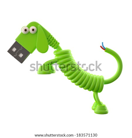 3d funny icon, usb connector dog, technology humorous animal, USB connection character with green cable, isolated on white background - stock photo