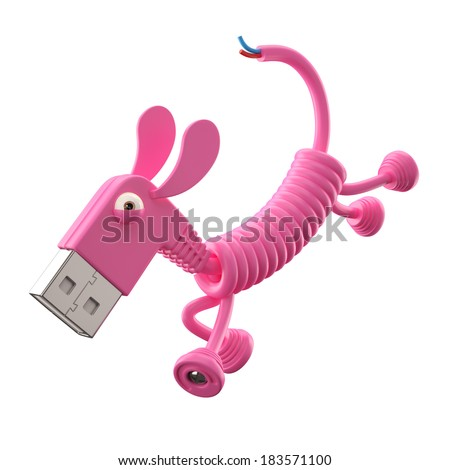 3d funny icon, usb connector dog, technology humorous animal, USB connection character with pink cable, isolated on white background  - stock photo