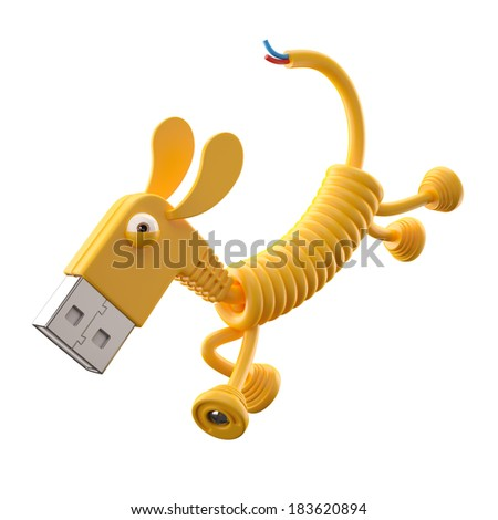 3d funny icon, usb connector dog, technology humorous animal, USB connection character with yellow cable, isolated on white background  - stock photo