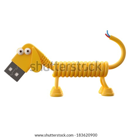 3d funny icon, usb connector dog, technology humorous animal, USB connection character with yellow cable  - stock photo