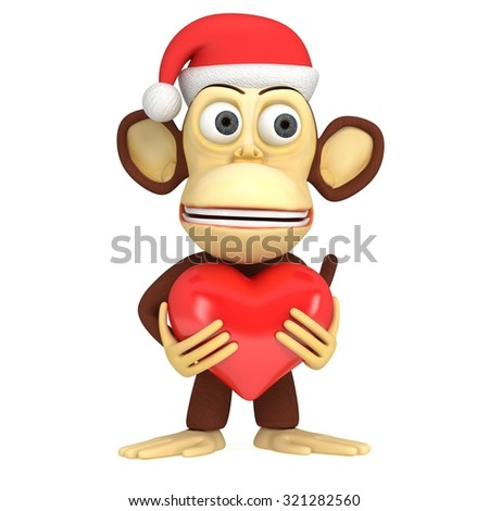 3d funny monkey in santa claus cap with red heart. 3D render isolated on white.