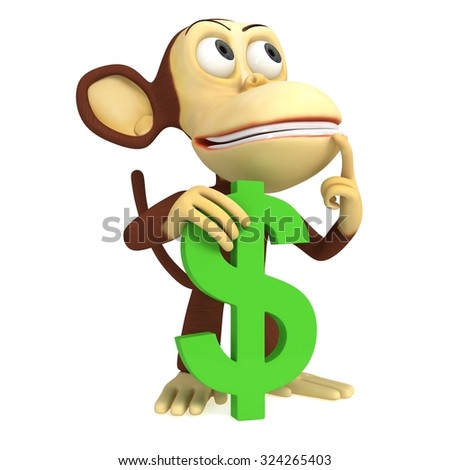 3d funny monkey with dollar symbol. 3D render isolated on white.