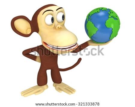 3d funny monkey with earth globe. 3D render isolated on white.