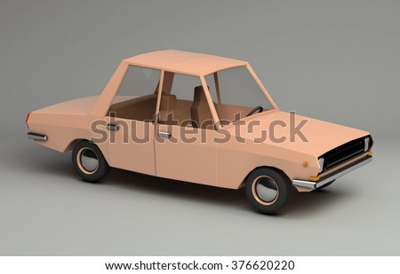 3d funny retro styled orange car. Glossy bright  vehicle on grey background with realistic shadows. Three-quarter view from above - stock photo