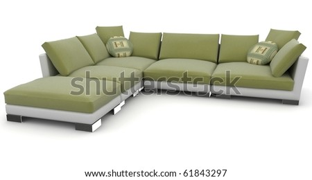 3d furniture detailed sofa isolated on white - stock photo
