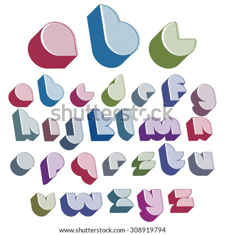 3d futuristic font with good style, lined version, simple shaped letters alphabet made with round shapes, great font for design, advertising, web and headlines. - stock photo