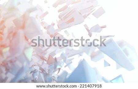 3d futuristic polygonal shape abstract geometric background - stock photo