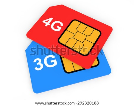 3d 3G and 4G SIM cards - stock photo