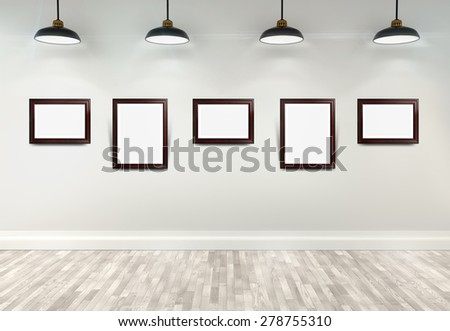 3d gallery interior with empty frames on wall - stock photo
