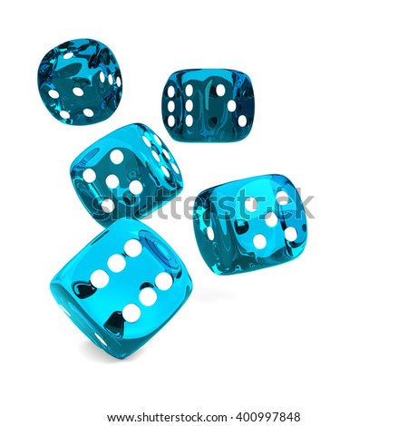 3d game blue dices rolling on white table with place for text - stock photo