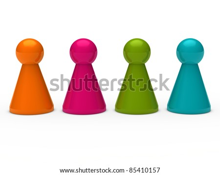 3d game figure team orange pink blue - stock photo