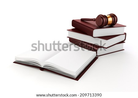 3d gavel and book on white background - stock photo