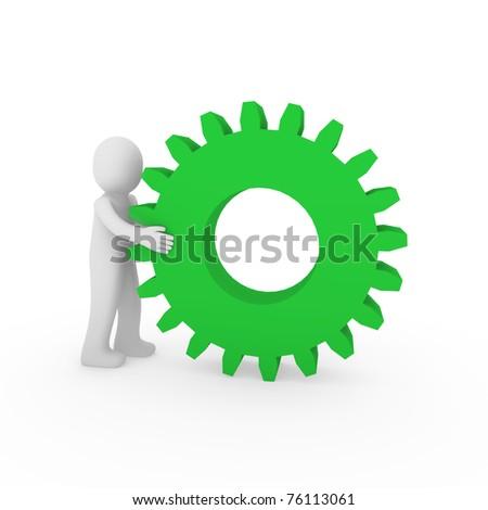 3d gear green human man teamwork business technology - stock photo