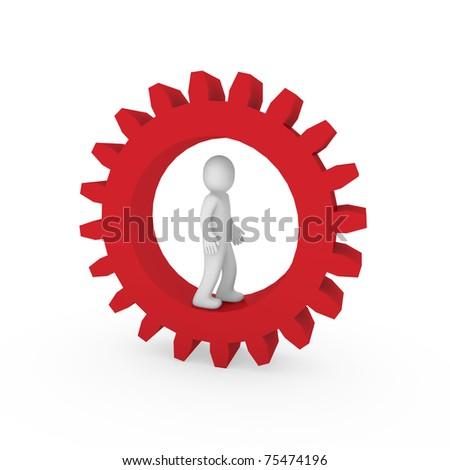 3d gear red human man business teamwork technology - stock photo