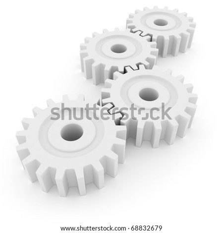 3d gear wheel isolated on white background
