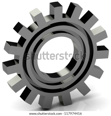 3D Gears isolated on white. Work concept.