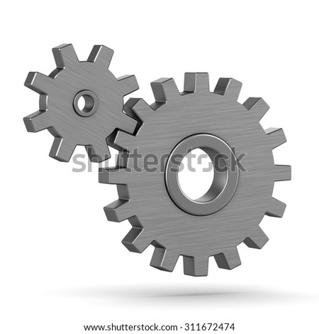 3d gears on a white background - stock photo