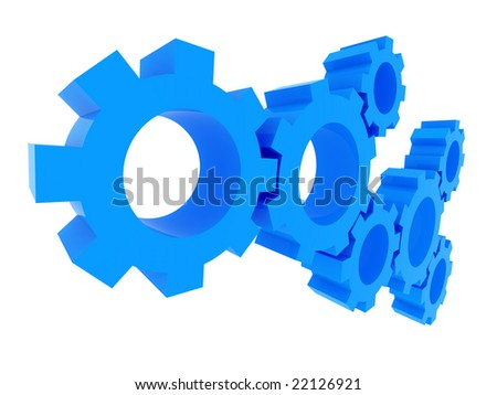 3d gears rendering. Isolated on white background with clipping path. Solution, teamwork, technology...concepts.