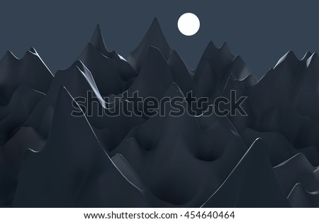3D generated artificial dark gray and blue ridgy landscape