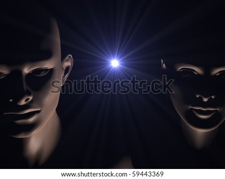 3d generated close up faces of man and woman in darkness of space with star burst between them