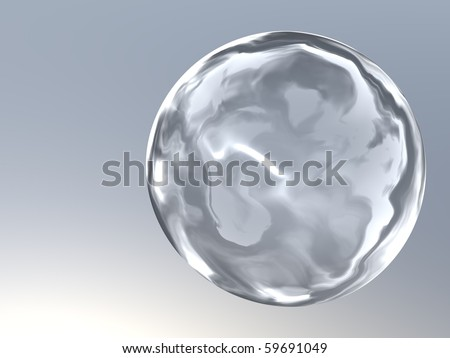 3d generated glass button on gray steel background with place for text - stock photo