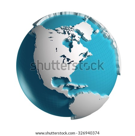 3D generated Globe. America side. Clipping path included.