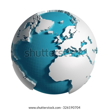 3D generated Globe. Europe, Africa, Atlantic ocean side. Clipping path included.