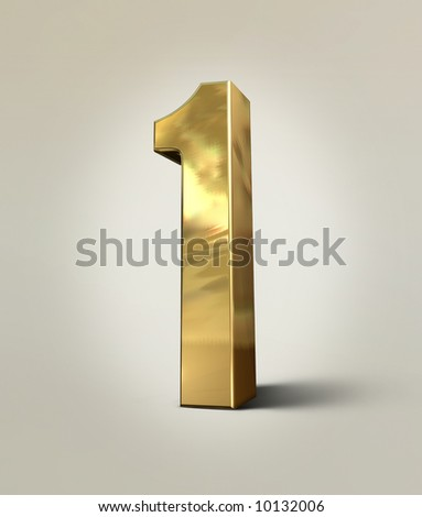 3D generated gold metallic number one - stock photo