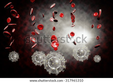 3D generated illustration of HIV Aids virus cells for medical science background - stock photo