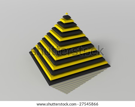 3d generated illustration of layered color pyramid