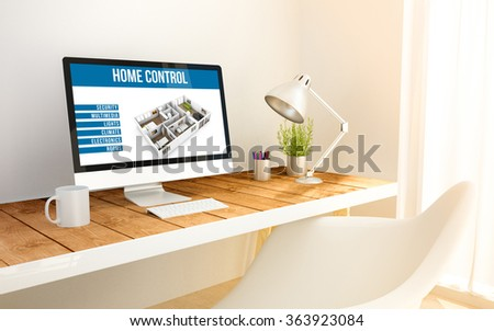3d generated minimalist workspace with  home automation computer and copyspace. 3d illustration. all screen graphics are made up. - stock photo